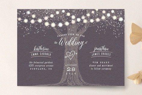 Romantic summer evening wedding invitation.