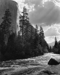 "El Capitan, Merced River, Clouds Image Date: 1952 Print Type: Gelatin Silver Print Size: approx. 10""x8"", matted size 17""x14"""