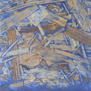 Veredelung von OSB Platten mit farbigen Holzkit und Hartöl. Hier mit Ultramarinblau.