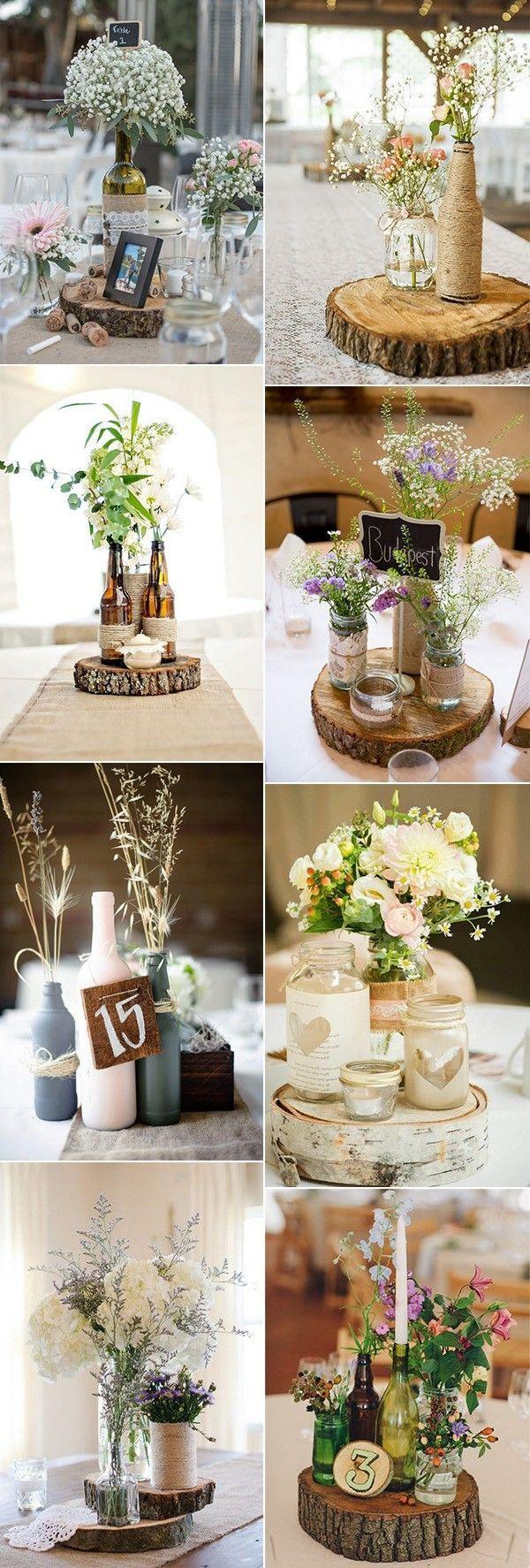 rustikale schicke Weinflaschen Hochzeit Herzstück Ideen #weddingideas #weddingd…