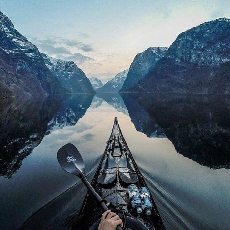 Kayaking in Naeroyfjord  Photo by @tfbergen  #modernoutdoorsman