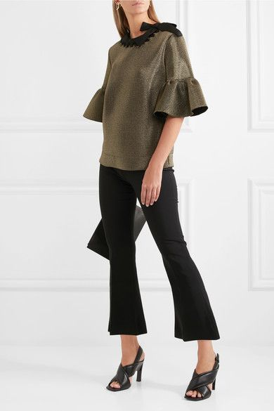 Fendi - Grosgrain-trimmed Metallic Scuba Top - Gold