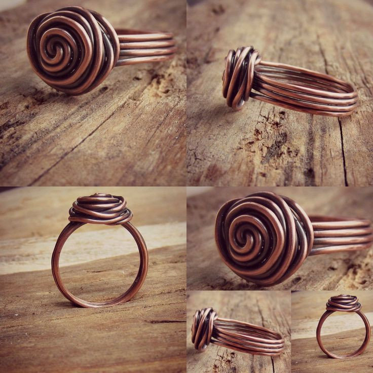 Hand made wire wrapped copper rose ring featuring 4 bands.  • d e t a i l s • •Size - fits 7-8  •Pure recycled copper, hand oxidized