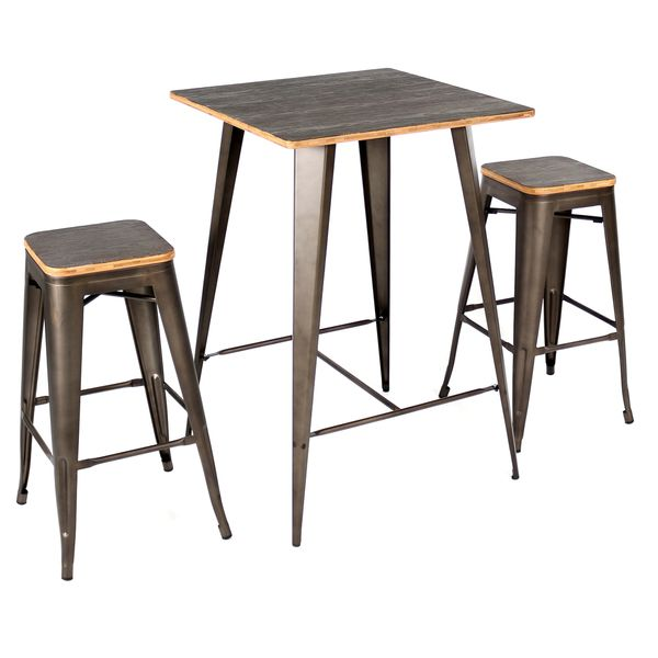3 Piece Oregon Industrial Pub Set Matte Grey Metal With Medium Brown Wood  Top   LumiSource