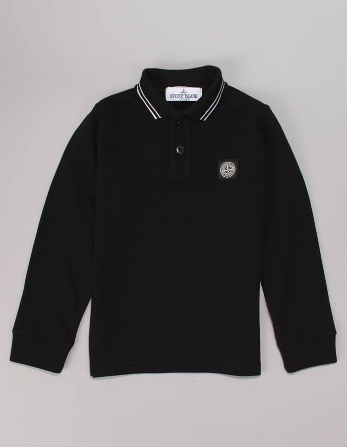 Stone Island Junior Black Long Sleeved Classic Polo Shirt | Accent Clothing