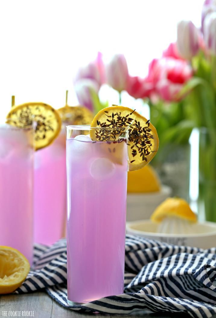 Lavender Lemonade is a pretty and delicious fragrant drink perfect for any party or baby shower! Fun, bright, and yummy! Non-alcoholic or boozy!