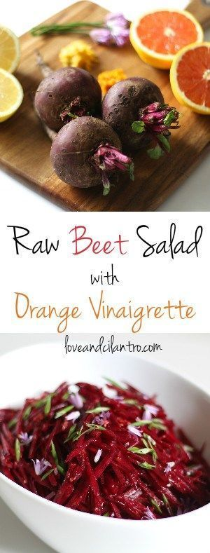 This raw beet salad with an orange vinaigrette will have you licking the bright pink juice right off your plate! #BeetSaladWithGarlic