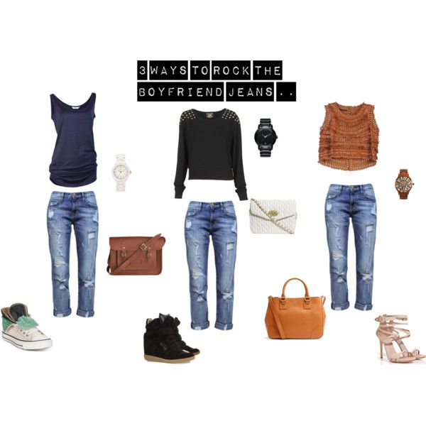 """""""3 ways to Rock the Boyfriend Jeans.."""" by thewhiteboard on Polyvore"""