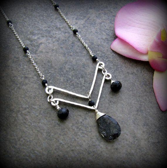 Black Tourmalinated Quartz Chevron Necklace by TheGemGypsy on Etsy, $95.00  - cool