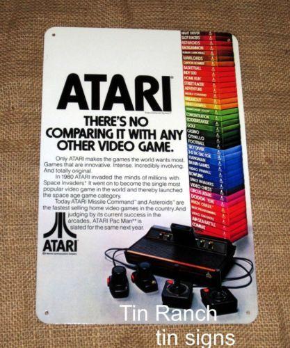 ATARI-TIN-SIGN-retro-advertising-70s-vintage-Video-Game-arcade-console-computer