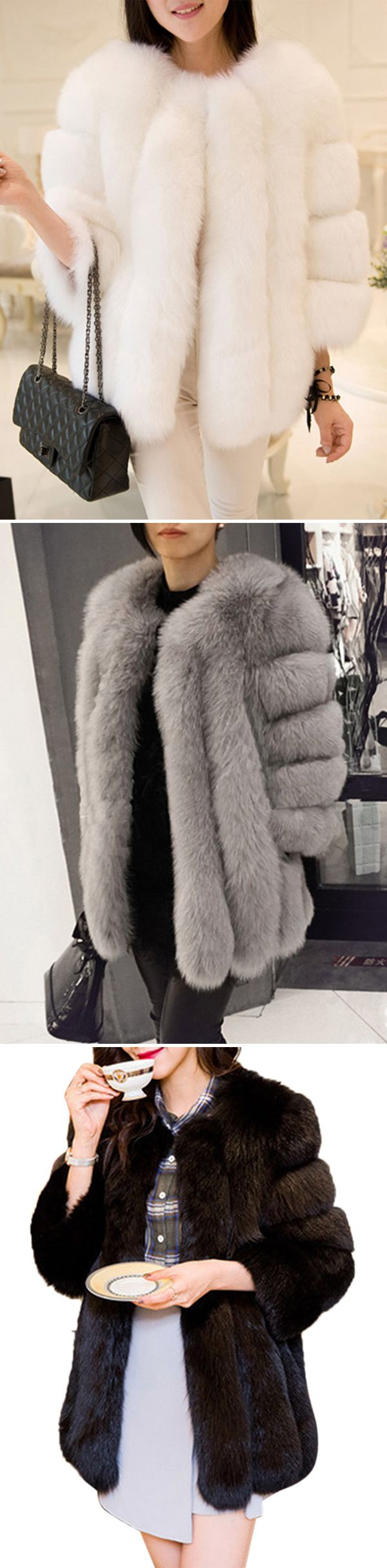 [Newchic Online Shopping] 46%OFF Casual Faux Fur Coats for Women