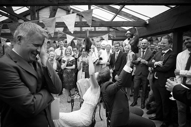 Why I love this photo...  Its a great shot which captures all the fun and laughter with family and friends.  It makes me smile and takes me staright back to that moment instantly.  You can feel the jubilant atmosphere of the #mrandmrs game oozing out.  . . . . . . #saturdayvibes #weddingday #brideandgroom #blackandwhite #weddingphoto #justmarried #weddingfun #weddinggames #laughter #fun #weddingphotography #devonwedding #weddingphotographer #devonweddingphotographer…