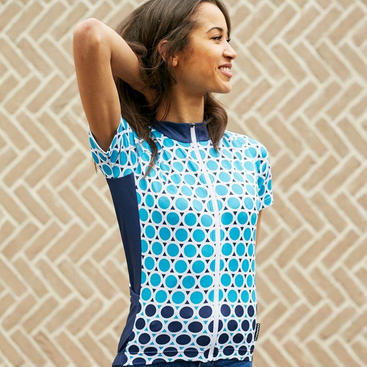 Chapeau Women Short Sleeve Jersey Madeleine Geo Polka Blue | Cyclechic | Cyclechic