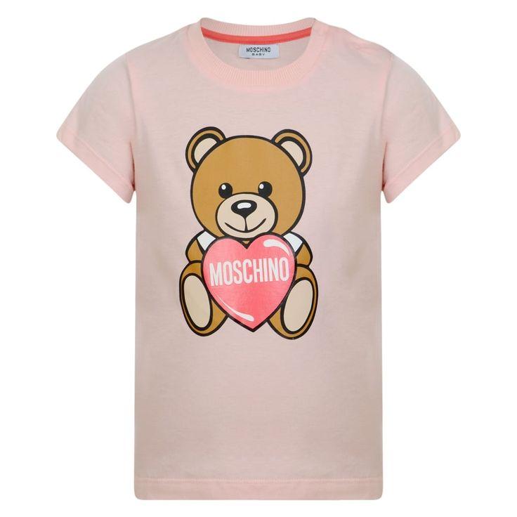Moschino Baby Girls Pink T-Shirt with Heart Teddy Bear Print