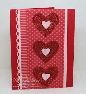 Stampin' Up! ... handmade Valentine card from Stamp Pad Creations ... monochromatic reds ... luv the layout with patterned papers and border punching ...