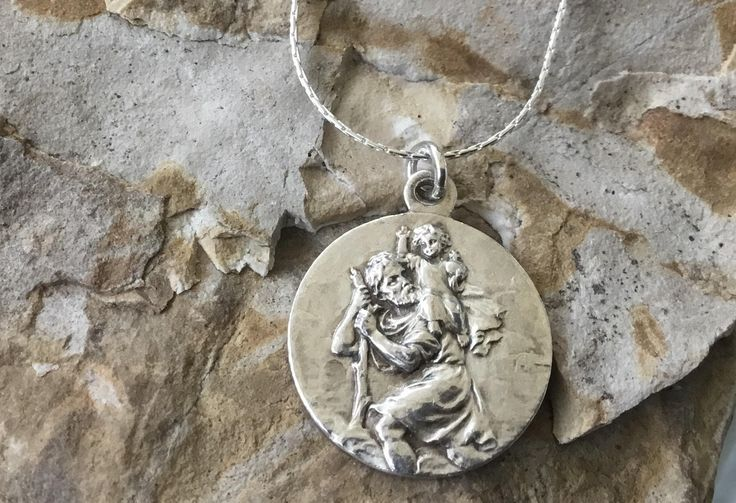 Vintage French St. Christopher Medal.  Vintage St. Christopher on Cardano Chain. by EarthCharmers on Etsy