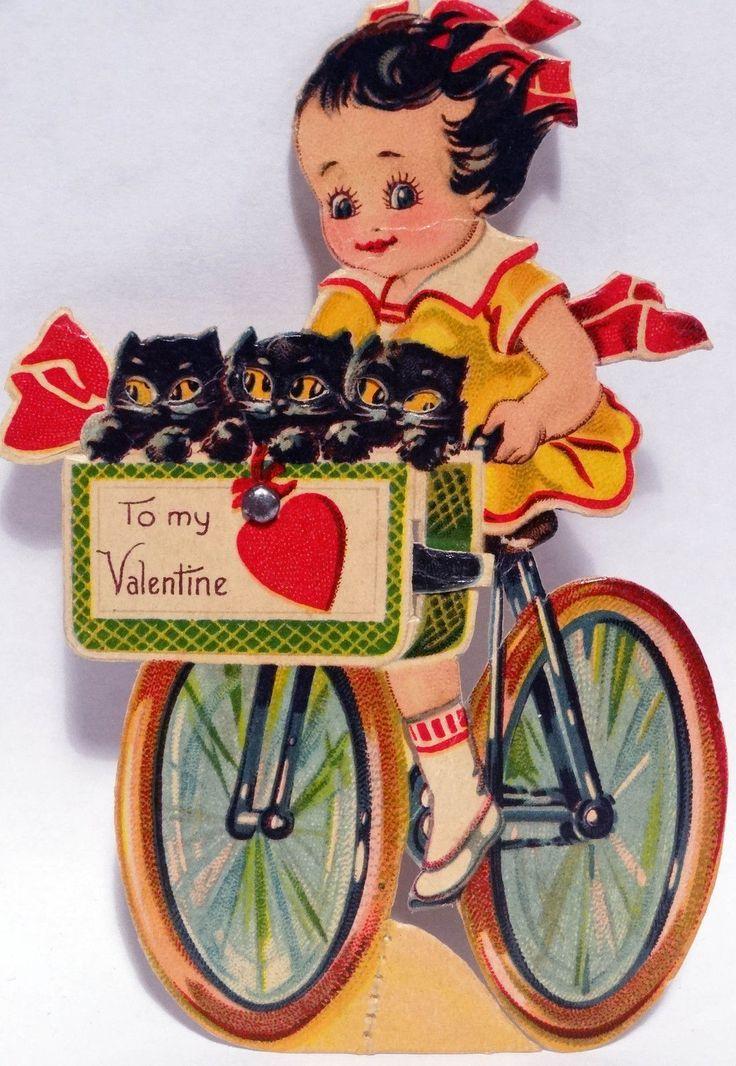 J957 20s Black Cats IN THE Bicycle Basket VTG Mechanical Diecut Valentine Card | eBay