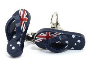 "Australian Flag ""Aussie"" Thong Cufflinks - $25"
