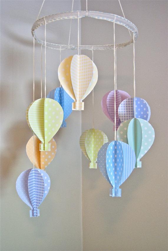 Girls 3D Paper Hot Air Balloon Mobile