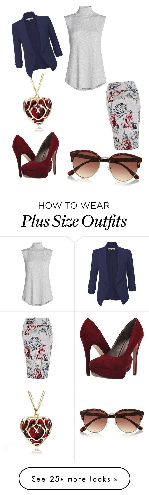 """off to work- plus size"" by maddocksmj on Polyvore featuring Melissa McCarthy Seven7, NIC+ZOE, River Island, Michael Antonio, LE3NO and plus size clothing"