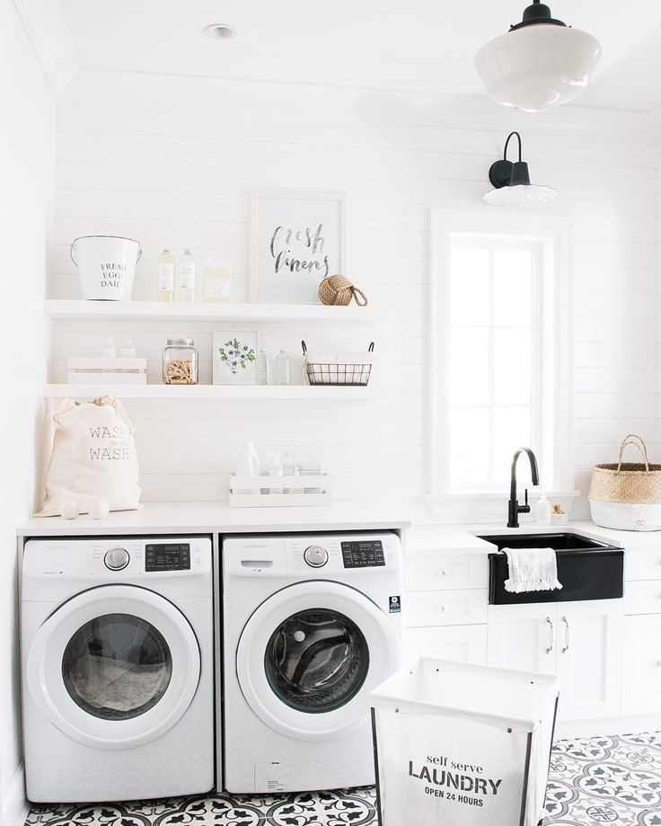 """Monika Hibbs on Instagram: """"As much as I """"lovvvre"""" laundry, I'll be sharing our mudroom/laundry room over on MH later today! Because I do really LOVE this space in our home! And that Fresh Linens print by @celestecclark will be available as a free download too!! http://liketk.it/2p0BB @liketoknow.it.home #LTKHome"""""""
