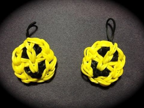 Made by Mommy's Smiley Happy Face Charm for the Rainbow Loom - Can be a Pumpkin as well using orange and black with a green stem for the hanging loop!