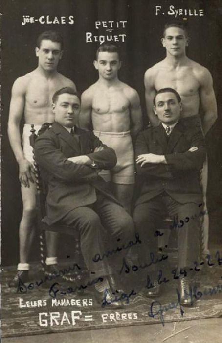 """Vintage French Studio Postcard - Autographed and dated February 1924, Marked Studio Goossens of Liege. A very young Joe Claes, Nicolas Petit-Biquet, and Francois Sybille,  professional boxers in the 1920's. Featured with their """"promoters."""" Sybille represented France as a bantamweight at the 1924 Paris Olympic Games."""
