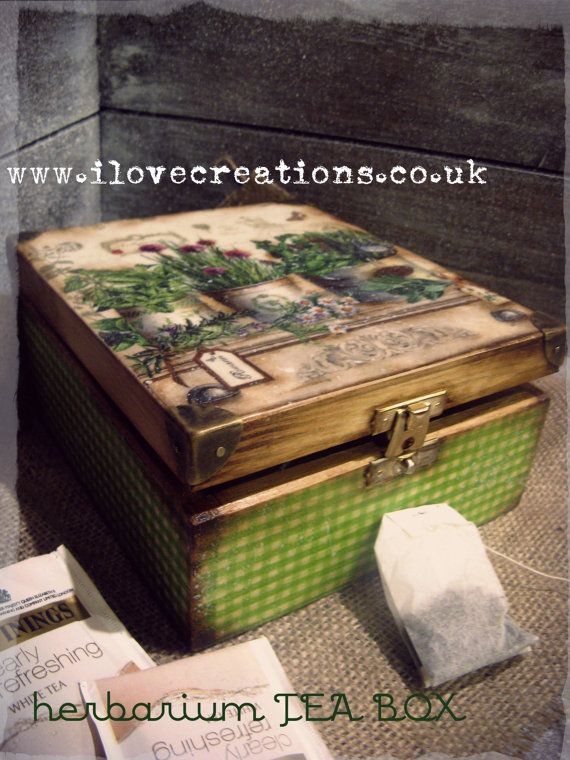 A garden tea box, wouldn't this be perfect to create a mini fairy garden scene in?