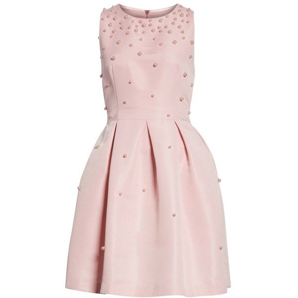 Women's Ted Baker London Embellished Skater Dress ($335) ❤ liked on Polyvore featuring dresses, baby pink, flounce dress, pink beaded dress, polka dot skater dress, beaded dresses and dot dresses