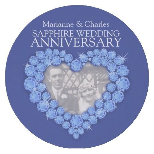 Sapphire Wedding Anniversary Heart Photo Coasters Ideal For A Special 45th Party