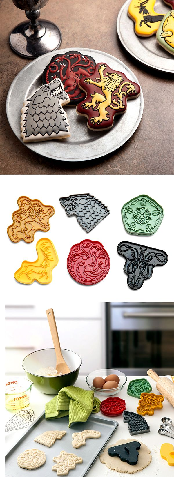 Discuss what's going on while enjoying eating cookies, specifically cut by these Game of Thrones House Sigil Cookie Cutters to show your loyalty. Check it out ==>  http://gwyl.io/game-thrones-house-sigil-cookie-cutters/