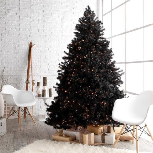 7.5 foot Pre-lit Artificial Black Christmas Tree with Stand