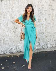Solid Bardot Wrap Dress - Light Teal - FLASH SALE - Large