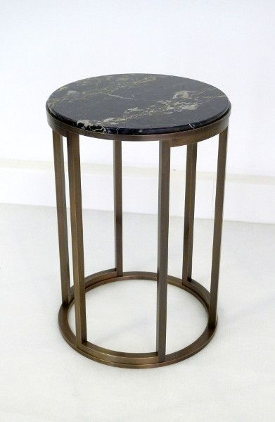 Izmir Hammered Brass Side Table By Global Views, Brass Lamps For .
