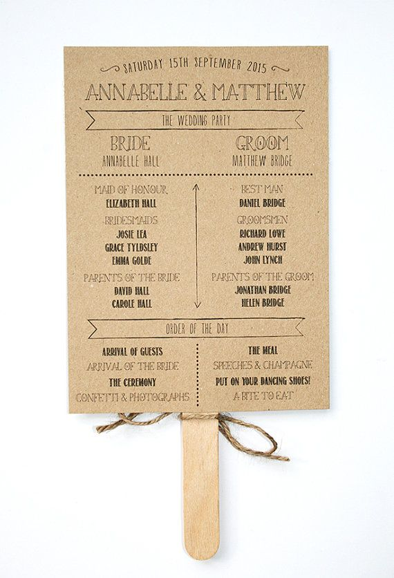 Wedding Program Fan Rustic Kraft And Lace By LittleIndieStudio