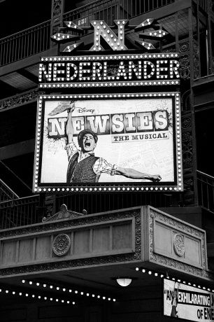 The Newsies marquee outside the Nederlander Theatre-- This is closing in less then two months