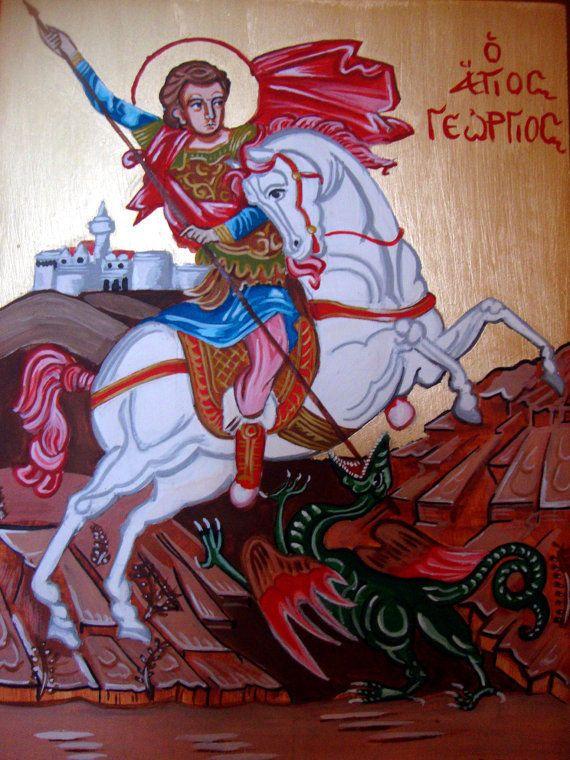 "Saint George - Agios Georgios - Original Handmade Greek Icon On Wood 7x9.75"" #Iconography"