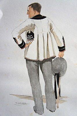 COSTUME BRETON DE  PONTIVY 1930 PAR LHUER, GRAVURE REHAUSSEE AU POCHOIR. 1943