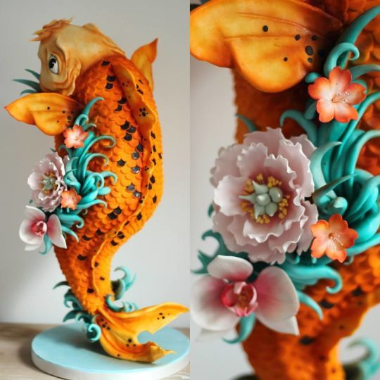Tattoo inspired Koi Carpe sculpted cake