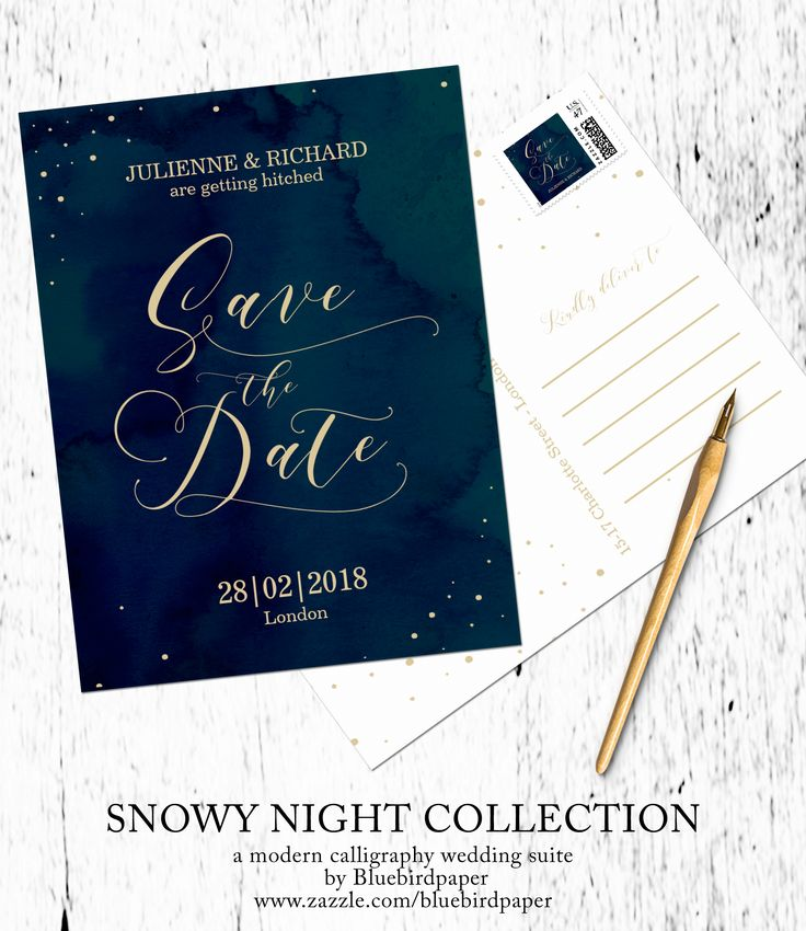Simple calligraphy save the date postcard inspired by a snowy night, perfect for a winter wedding.