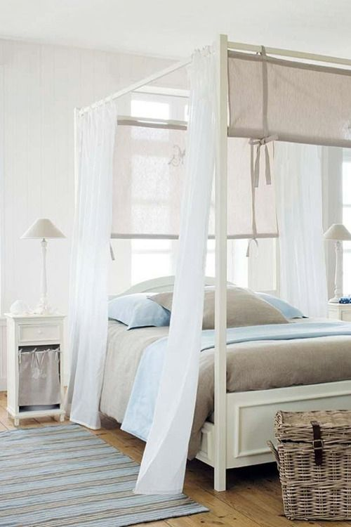 Light and airy... If you are looking for a painted wood four-poster - try www.naturalbedcompany.co.uk (the solid wood beds can all be made with a painted finish)