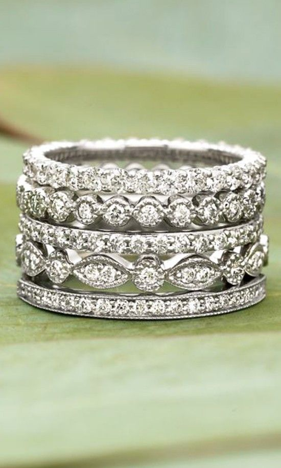 1000 Ideas About Stacked Wedding Rings On Pinterest