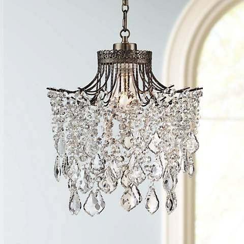 Brielle antique brass 12 wide crystal plug in swag pendant