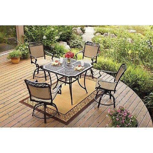 5 Piece High Patio Dining Set Outdoor Living Balcony Bar Height Table Top Cha