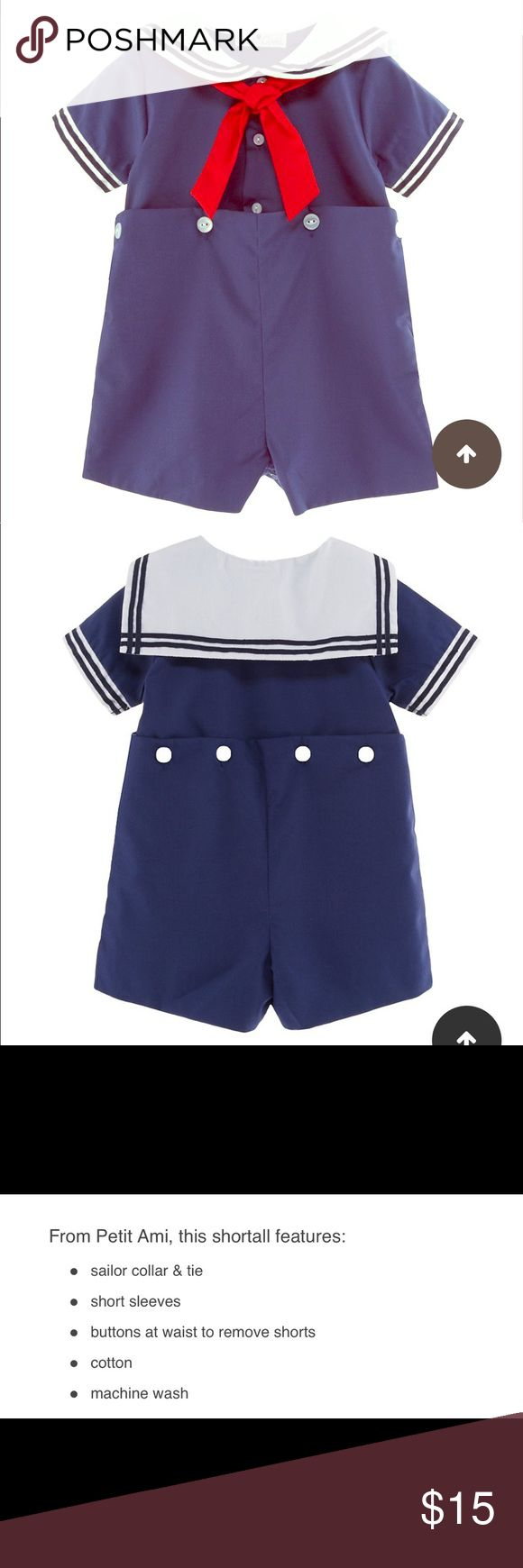 Petit Ami sailor outfit How cute is this 😊 navy white n red colors. 65% polyester 35% cotton petit ami One Pieces Bodysuits