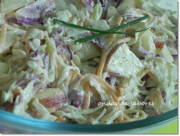 Ondas de Sabores: Salada Colorida de Repolho e Maçã