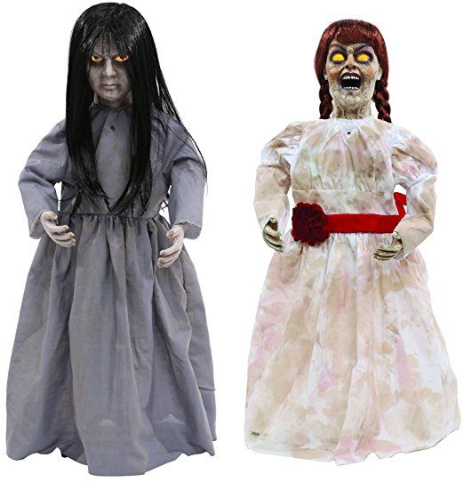 Höllische Geschwister Halloween Puppen Sad Sally und Creepy Carlotta 0,8 Meter groß und wunderschön mit Leuchtaugen und Sound