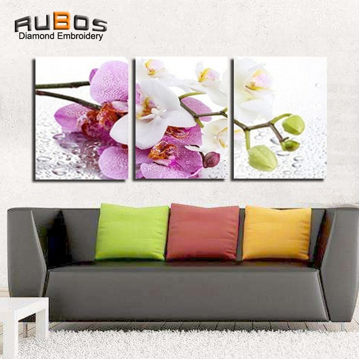 check discount rubos diy 5d diamond embroidery flowers orchid triptych diamond painting mosaic wall #orchid #flowers