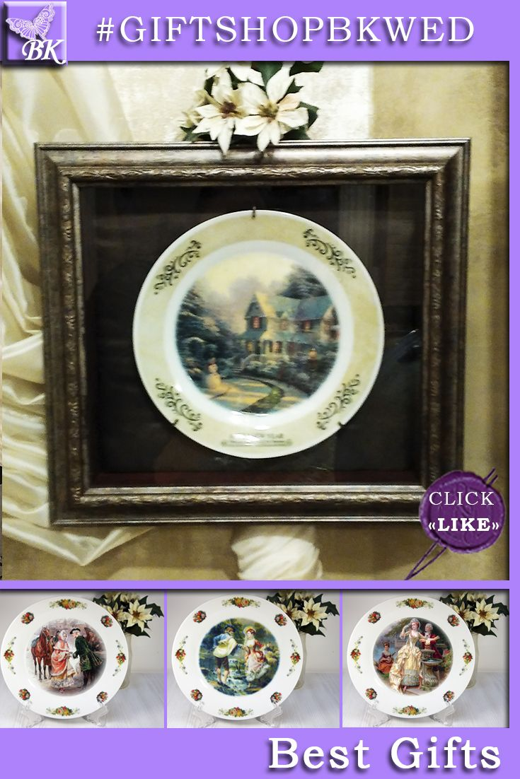 """T. Kinkade """"THE NIGHT BEFORE CHRISTMAS"""" Perfect for gift giving. Looks great as a display on the dresser or on the wall can be. #giftshopbkwed #decor #home #accessory #gift #porcelain #picture #print #accessories #walldecor #plates #homedecor #shabbychic #frenchstyle"""