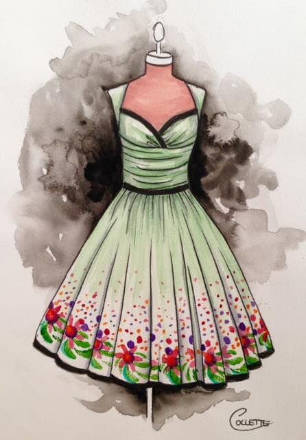 Sweetheart neckline with a ruched bodice, I imagine this dress in a raw silk with a black velvet trim. Loving the skirts and dresses I see with printed borders, so hard to find fabric like that, so my plan is to hand paint the hems on my dresses, one day when they come to life! Watercolour by Collette Fergus